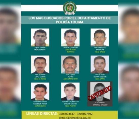 Cayó el primero del cartel de los más buscados en el Tolima