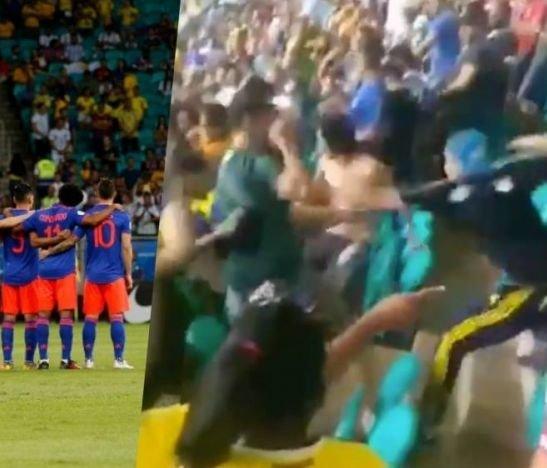 ¡Vergüenza! Barras colombianas protagonizaron violenta riña en el Arena Fonte Nova