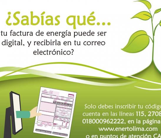 Ahora podrás recibir tu factura de energía vía correo electrónico
