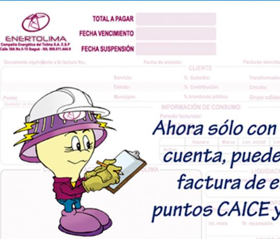 Ahora solo con el código de cuenta puede pagar su factura de Enertolima en puntos CAICE y GanaGana