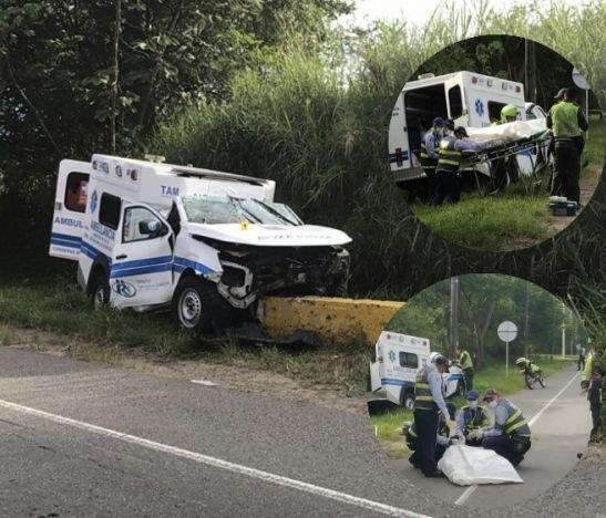 Violento accidente de una ambulancia dejó una mujer muerta y cuatro heridos