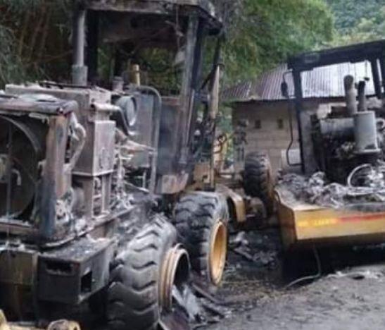 Gobierno Departamental se pronuncia frente al incendio de dos maquinarias en zona rural de Planadas