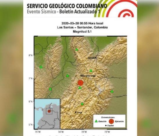 Temblor de 5.1 sacudió gran parte de Colombia