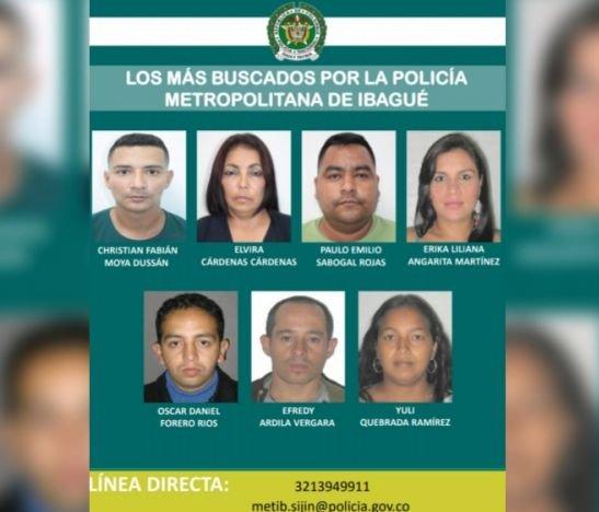 Estos son los más buscados por la Policía Metropolitana de Ibagué