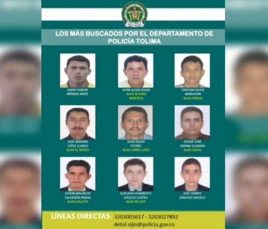 Salió un nuevo cartel de los mas buscados por la Policía del Tolima