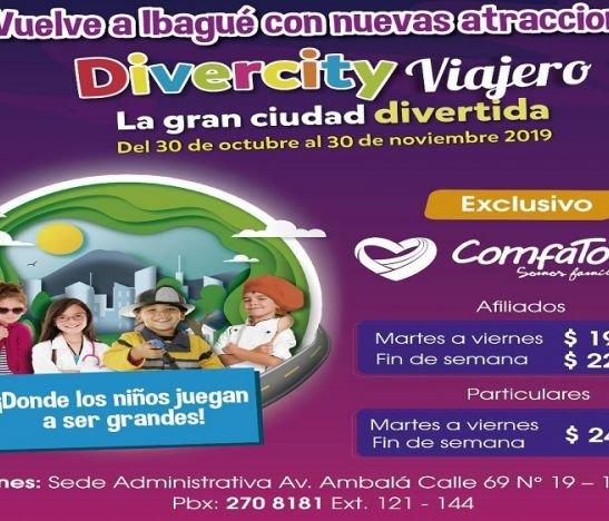 Familias afiliadas a ComfaTolima tienen descuento exclusivo  para ingresar a Divercity