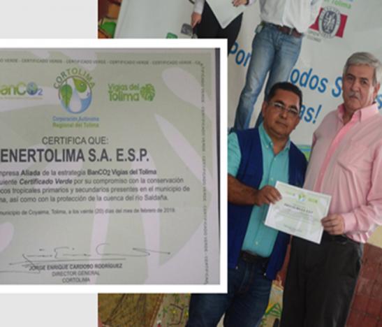 Enertolima recibió certificado verde por Cortolima