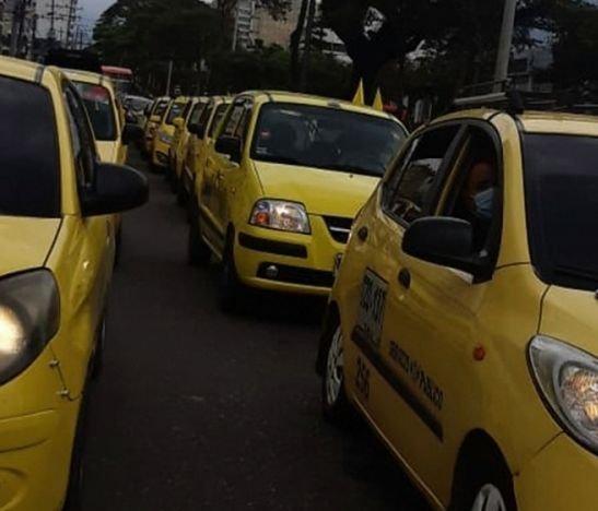 Se cumplió la gran jornada de movilización de taxistas en Bogotá