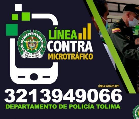 Policía del Tolima puso a disposición de la ciudadanía una línea antidrogas