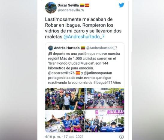 Atracaron al ciclista Oscar Sevilla en Ibagué