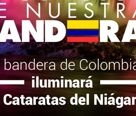 La Bandera de Colombia en las Cataratas del Niágara
