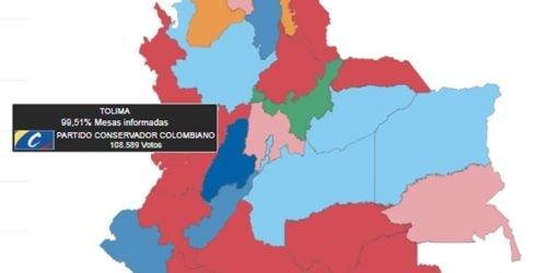 Mapa político Tolima-Cámara de Representantes