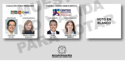 Tarjetón presidencial segunda vuelta HD 1 Junio 2018